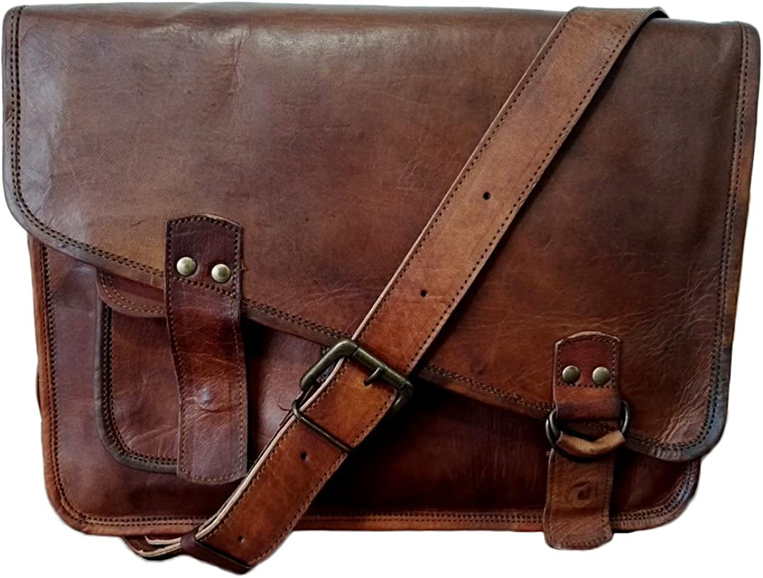 Mad Over Shopping Genuine Vintage Leather Business Bag Shoulder Laptop Messenger Office Briefcase Crossbody Bags 11×15