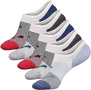 Aisprts Calcetines Cortos Hombre Transpirable Calcetines Invisibles Algodón No Show Antideslizante Calcetínes del Tobillo 5 Pares
