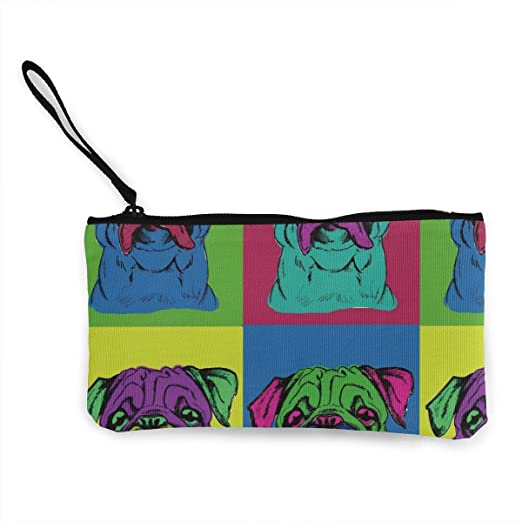 Women and Girl Colorful Pug Dog Canvas Coin