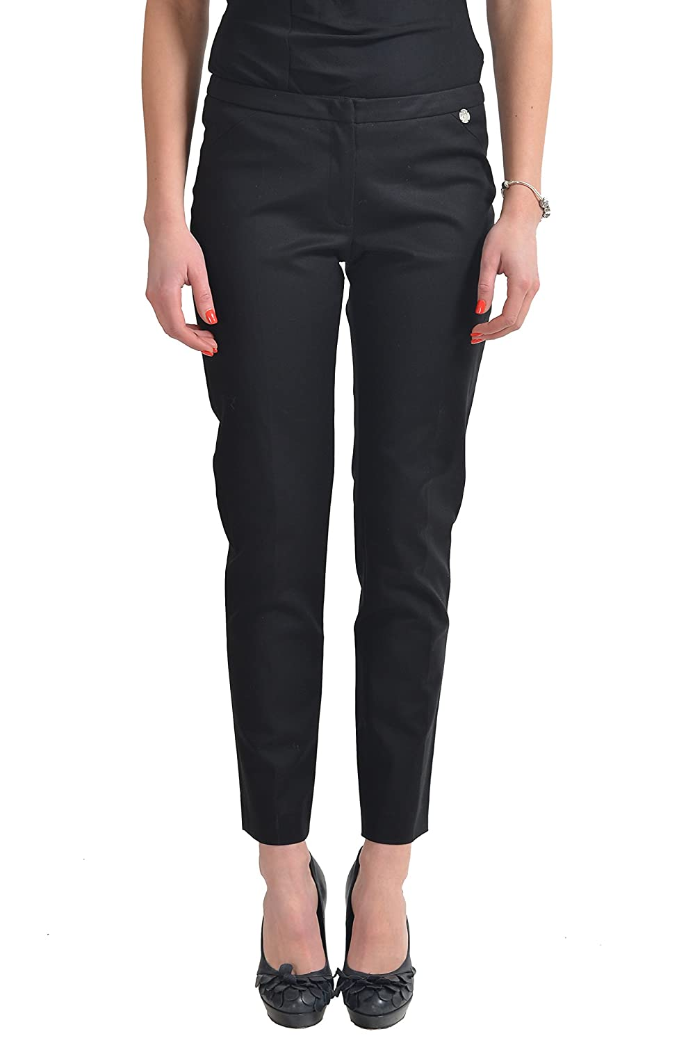 Versace Collection Black Flat Front Cropped Women's Casual Pants US 4 IT 40