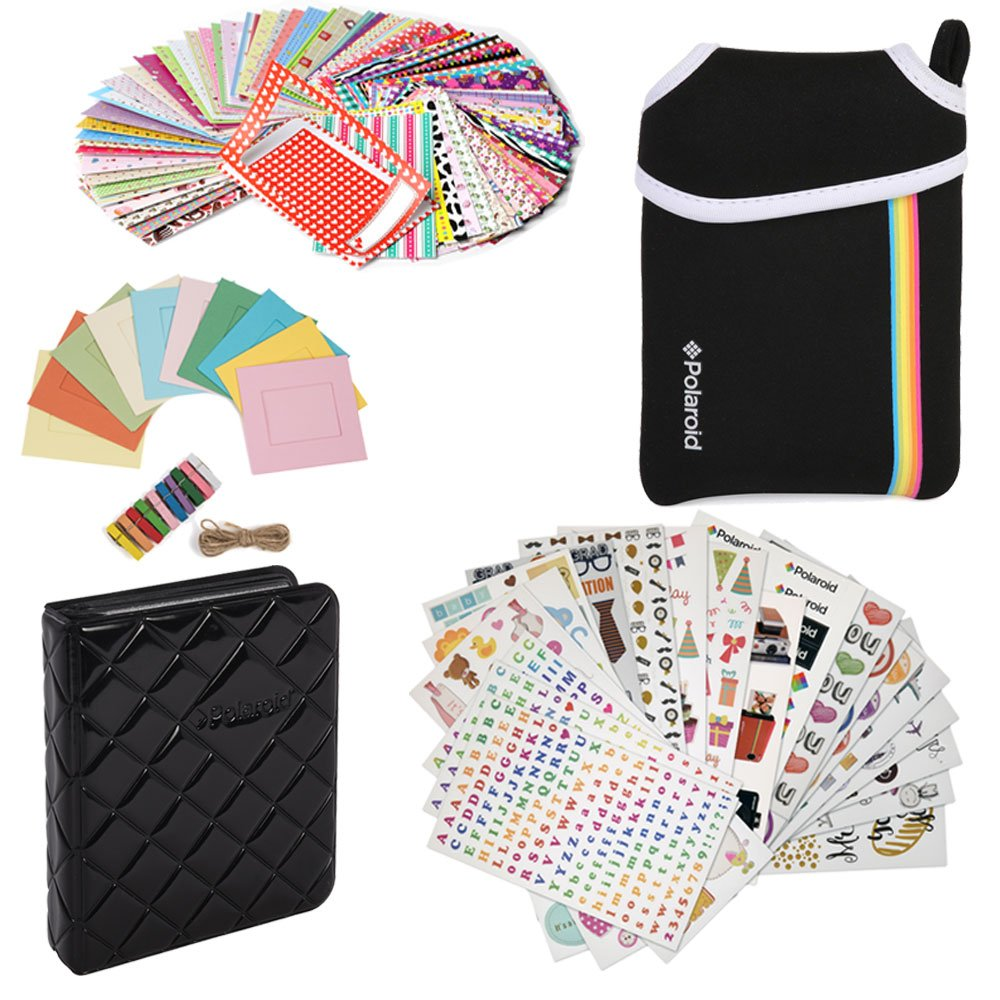 Deluxe Bundle - 9 Unique Sticker Sets + Neoprene Pouch + Photo Album + 100 Sticker Border Frames + Hanging Frames For Fuji Instax Mini 9, 26, 8, 7 Instant Camera Projects