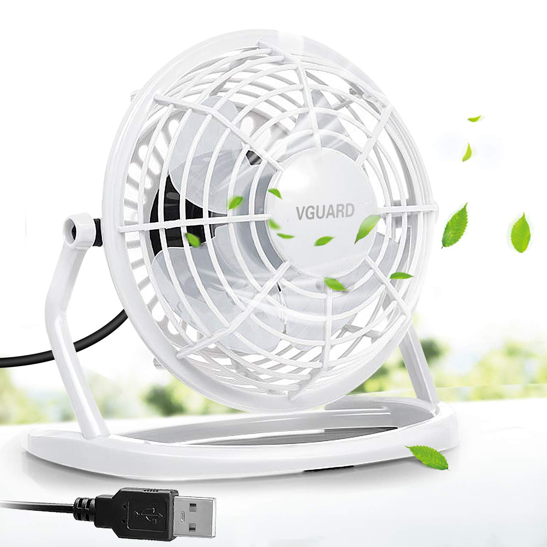 VGUARD Mini Ventilador USB Silencioso Ventilador de Mesa Potente USB Fan con Ajustable 360 Grados de Rotaci/ón para Personal Port/átil de Escritorio Hogar Oficina o Viaje Blanco