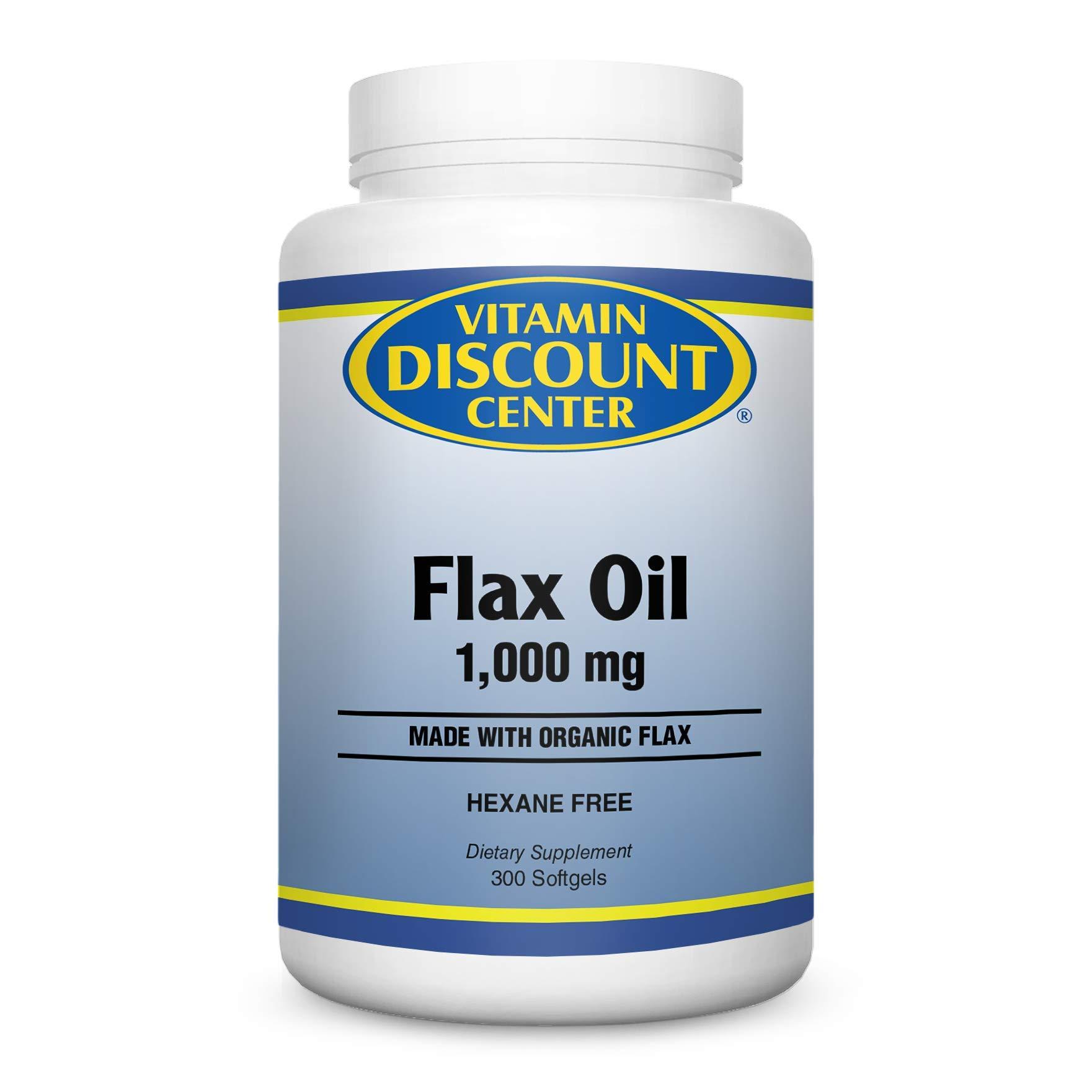 Vitamin Discount Center Organic Flax Oil 1000mg, 300 Softgels