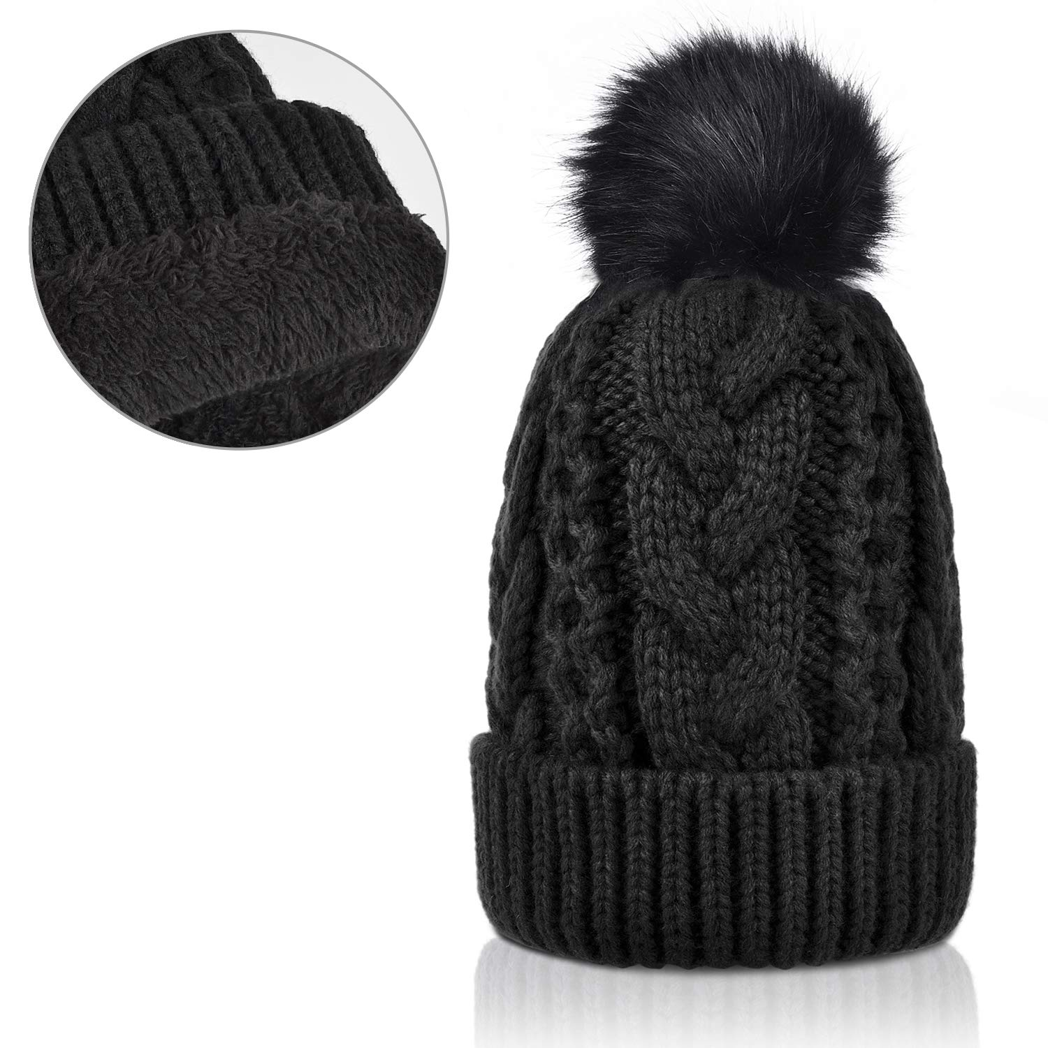 4d87425ef33 Winter Thick Cable Knit Faux Fuzzy Fur Pom Pom Sherpa Lined Skull Ski Cap  Cuff Beanie Black at Amazon Women s Clothing store