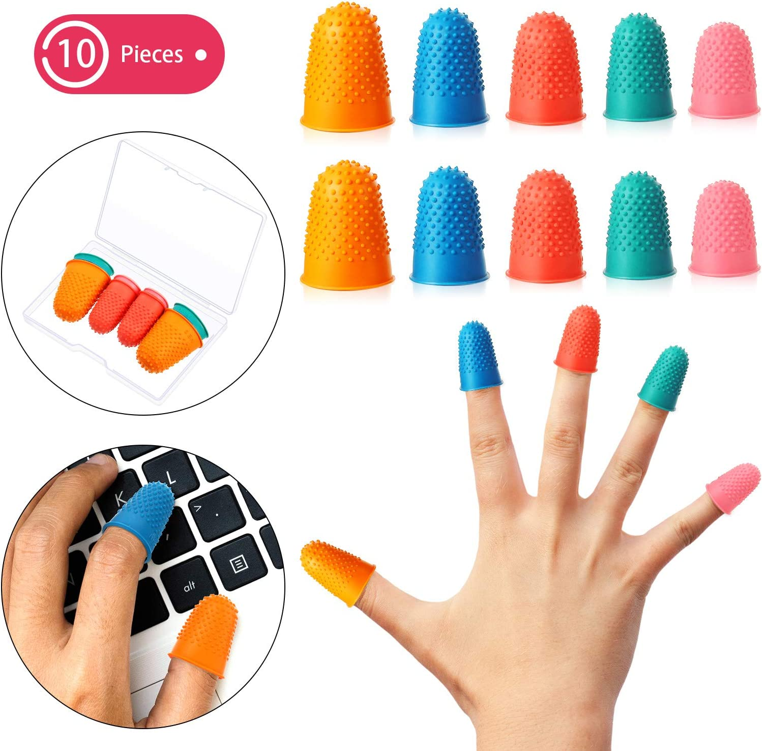 10 Pieces Rubber Finger Tips Finger Pads Grips Thick Reusable Finger Protector Fingertip Grips with a Box for Money Counting Collating Writing Sorting Task Hot Glue Sport Games in 5 Sizes and Colors
