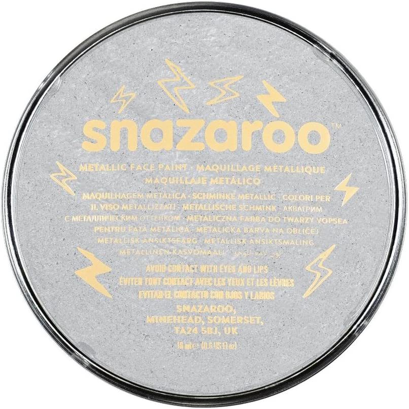 Snazaroo Metallic Silver Face Paint 18ml Clam Pack Color, M