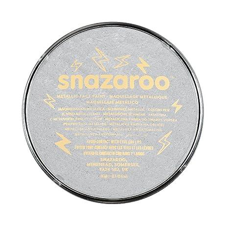 Snazaroo - Pintura facial y corporal, 18 ml, color plata metálico