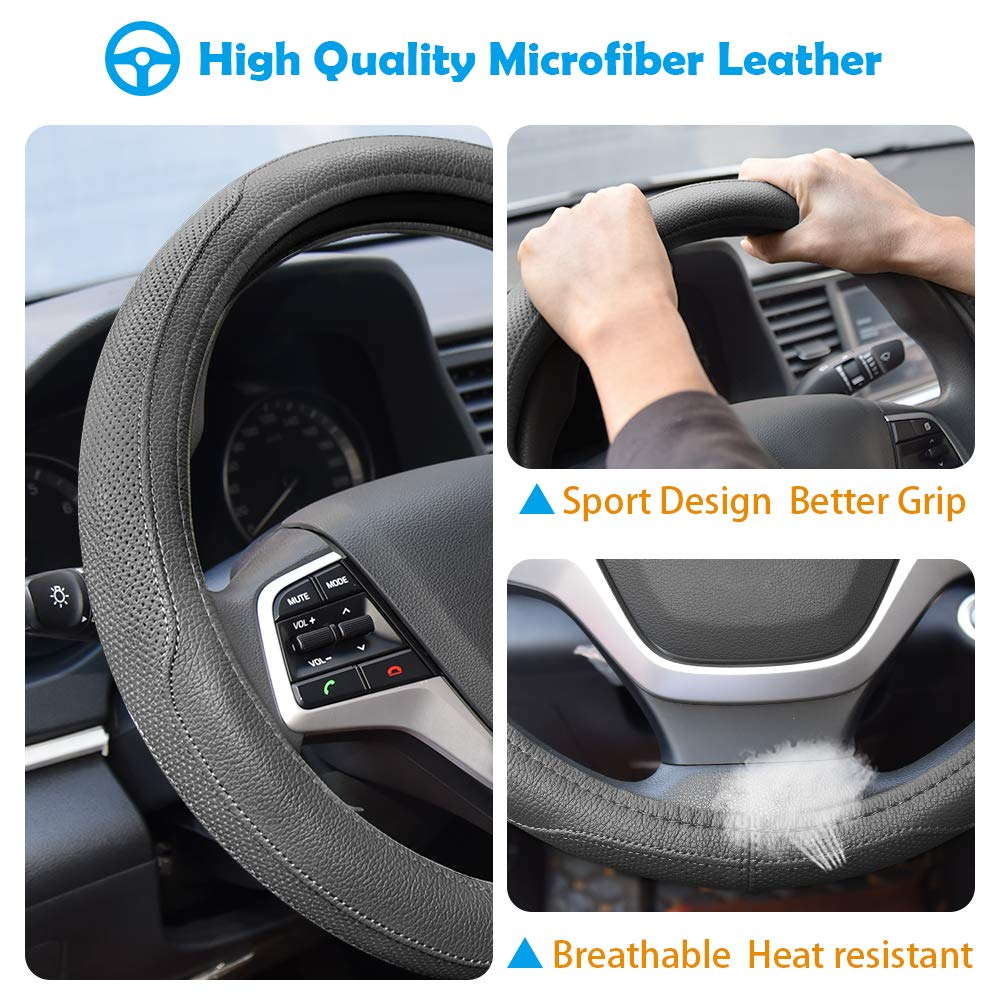 Black Universal 15 inch Breathable Anti Slip Auto Steering Wheel Covers Ylife Microfiber Leather Car Steering Wheel Cover