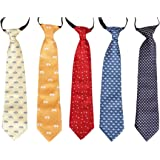 Bundle Monster 5 pc Boys Mixed Pattern Pre-Tied Elastic Fashion Necktie Sets