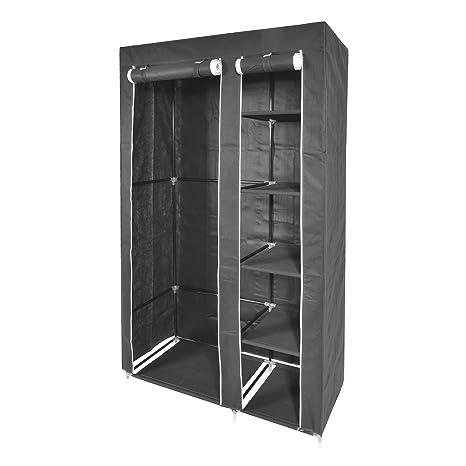 Kendan Rutland - Armario doble de lona plegable, con estantes y barra, con perchas