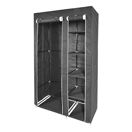 Kendan Rutland Grey   Double Fabric Canvas Wardrobe Closet Storage Shelves  Organiser Cupboard Hanging Rail With