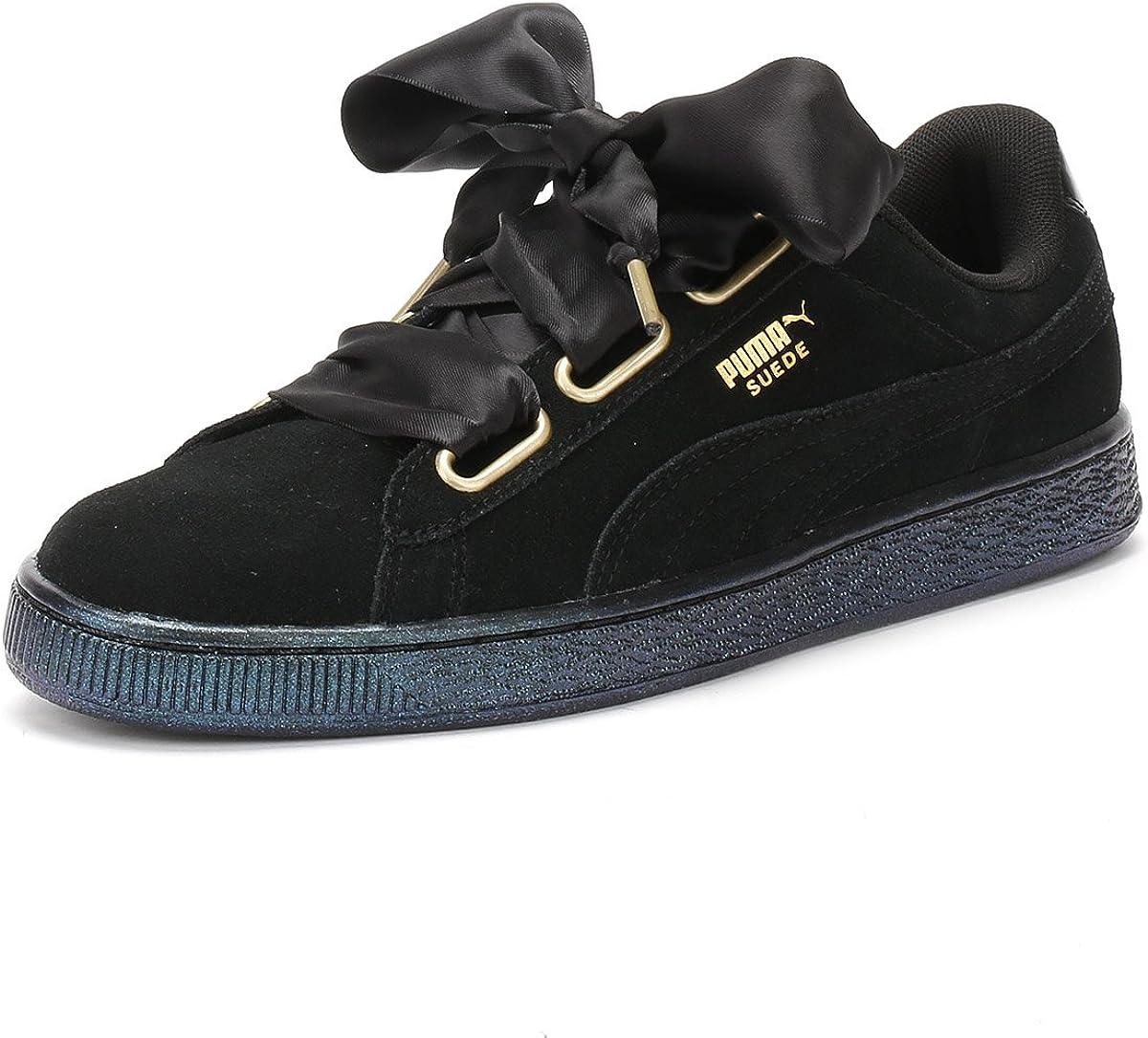 Puma Suede Heart Satin Womens Sneakers Black