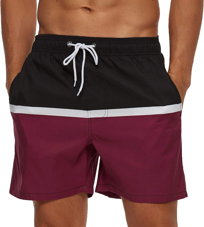 SILKWORLD Men's Swim Shorts Quick Dry Swimwear Sports Swim Trunks with Mesh Lining: Clothing
