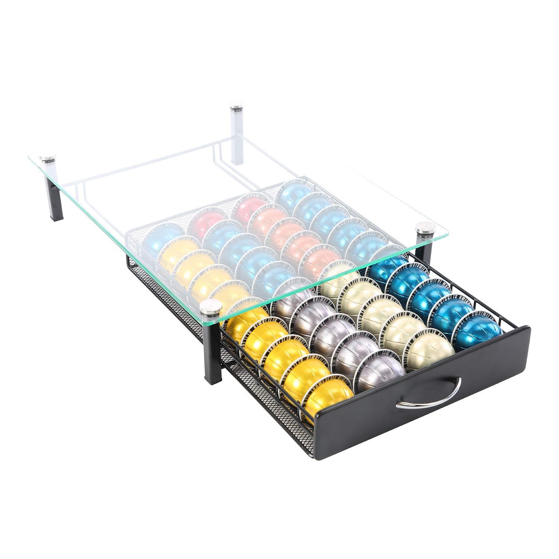 Coffee Pod Holder Storage Rack Capsules Capacity Drawer for Nespresso Vertuoline (40 Pods Glass Drawer) (40 Pods Glass Drawer) by FlagShip