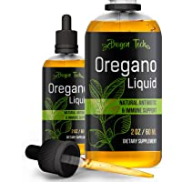 Oregano Liquid - Organic Oregano Food Supplement in Drops - Essential & Pure Oregano - New Formula for Immune Support - Gluten Free Natural Factors - Great Digestion with Super Strength Flora (2 Oz)