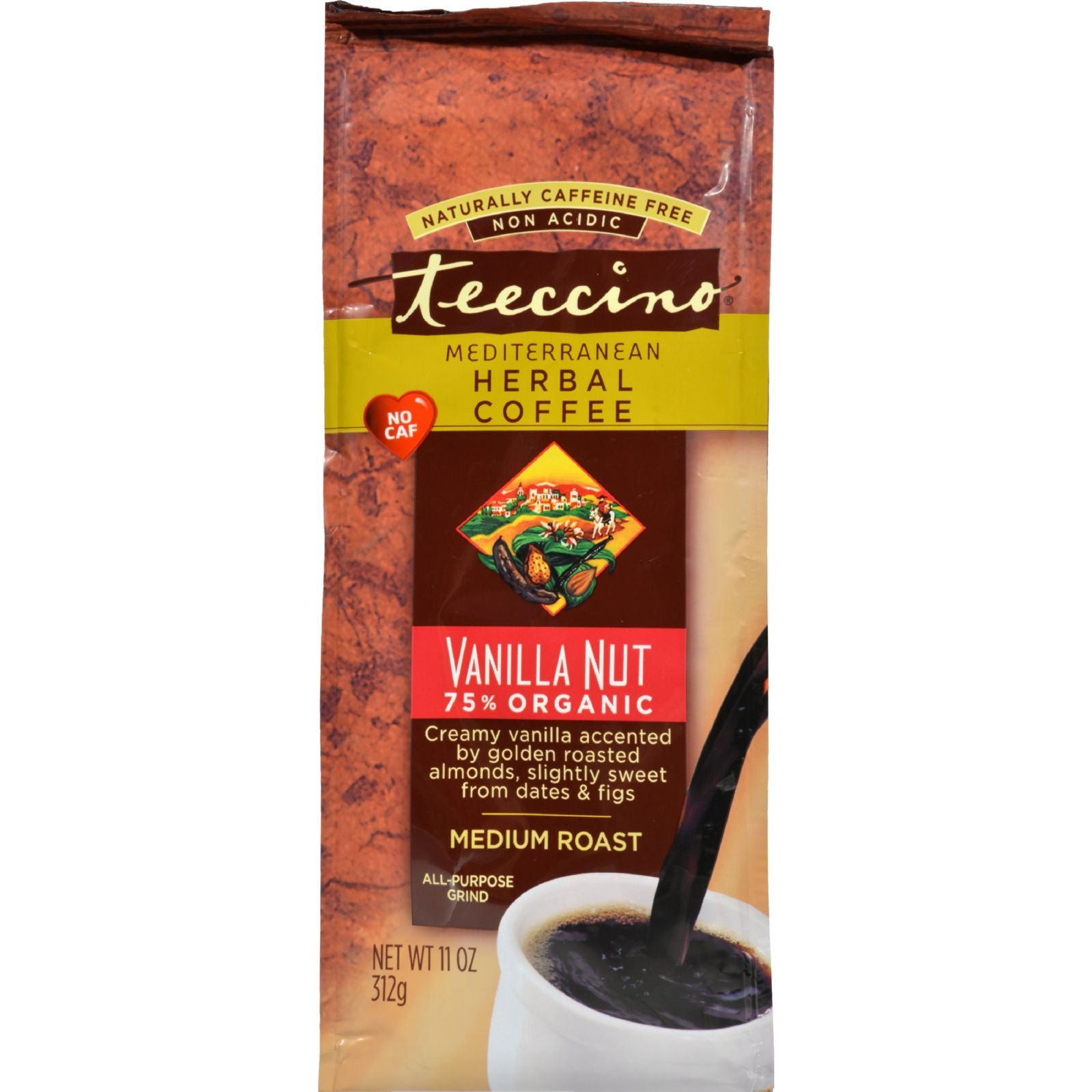 Teeccino Mediterranean Herbal Coffee Vanilla Nut - 11 oz - Case of 6 - 70%+ Organic - Gluten Free - Dairy Free - Yeast Free - Wheat Free - Vegan by Teeccino