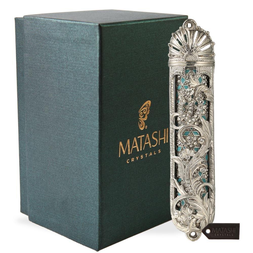 Matashi 5.5'' Hand Painted Mezuzah Gold Plated and Crystals (Silver) by Matashi