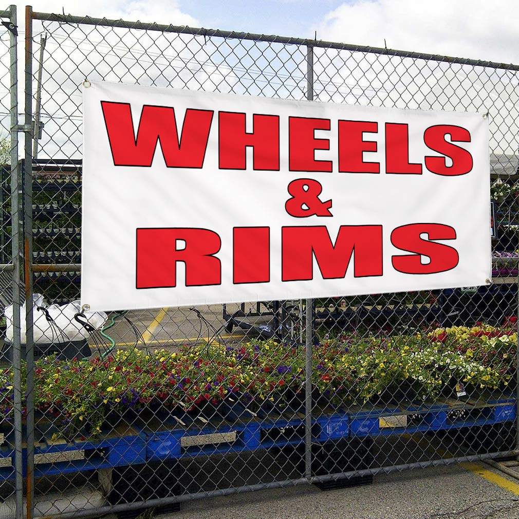 4 Grommets Set of 2 Vinyl Banner Sign Wheels /& Rims Auto Body Shop Car Repair Style U Marketing Advertising Multiple Sizes Available 28inx70in