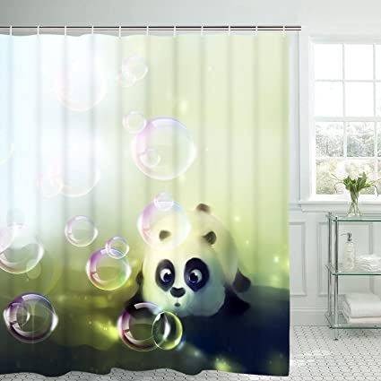 Amazon BLEUM CADE Cute Panda Shower Curtain Bubbles Bathroom