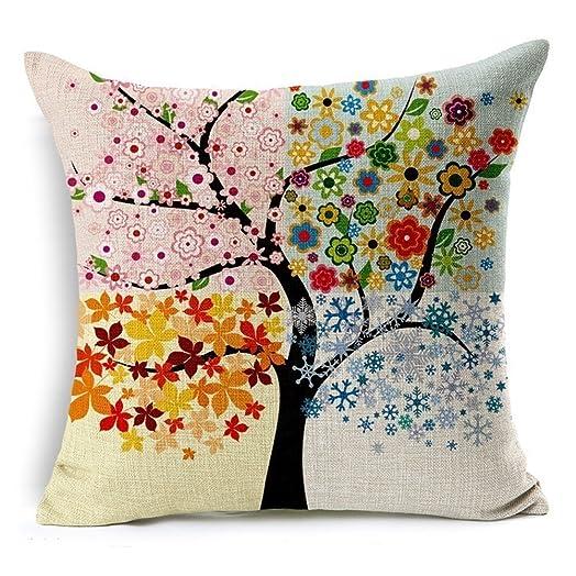 Hangood Cotton Linen Throw Pillow Case Cushion Covers Tree of Life