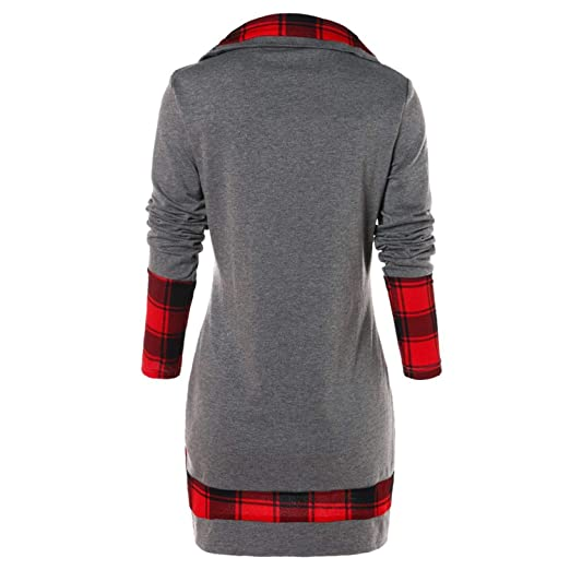 Female Hoodie Women Long Sleeve Plaid Turtleneck Tartan Tunic Sweatshirt Pullover Tops at Amazon Womens Clothing store: