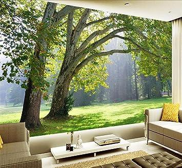 Hu0026M Tapete Selbstklebende Tapete PVC 3D Naturlandschaft Wald Wald Schöne  Landschaft Dekoration Wohnzimmer Restaurant TV Tapeten