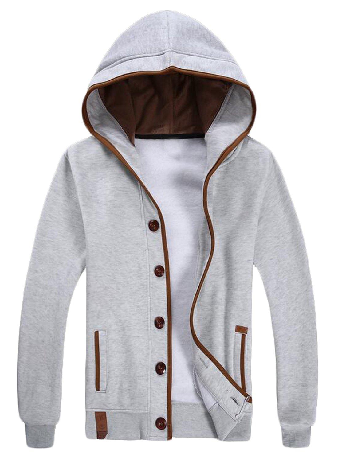 6bc86e18ca Vska Men s Athletic Button Front Hooded Sweatshirt Cardigan White US XXS  Apparel