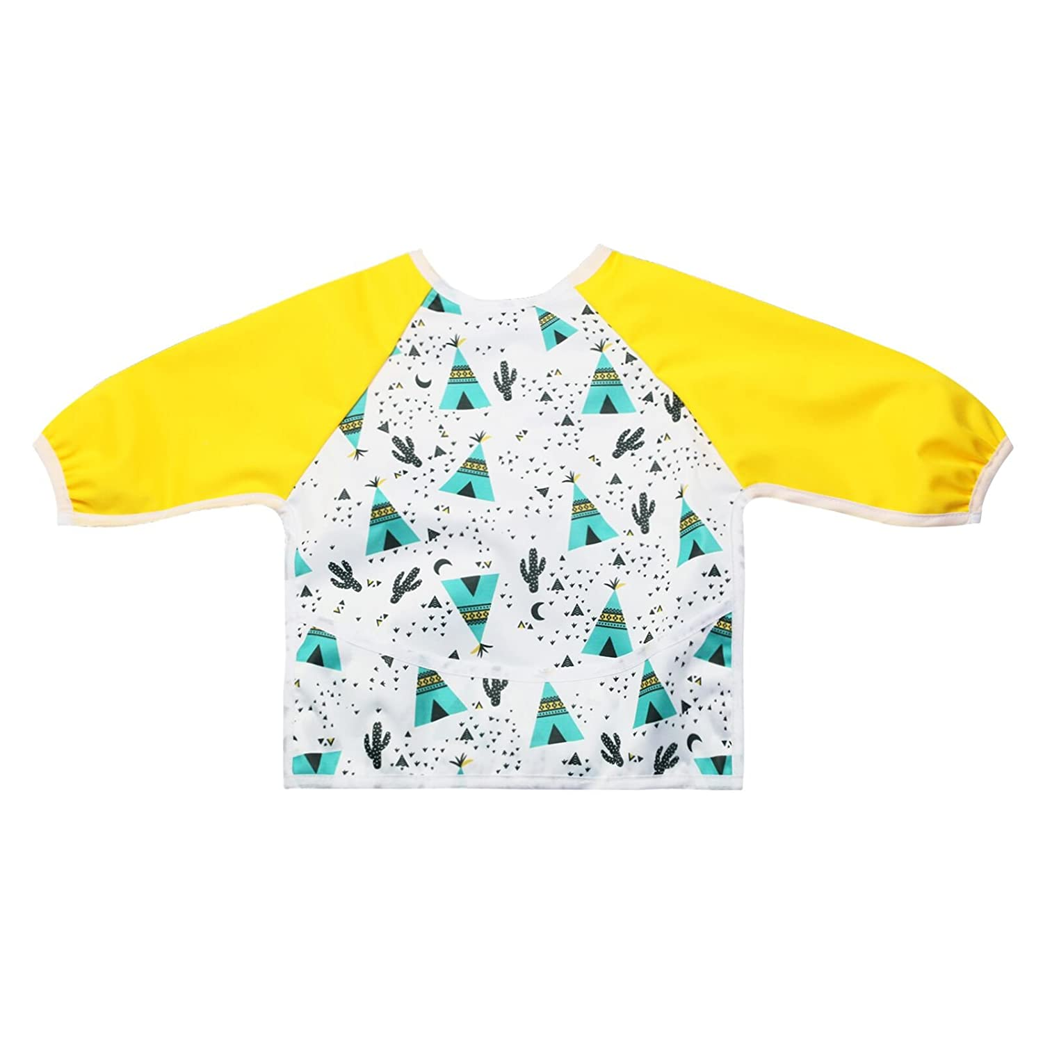 2 Pack Long Sleeved Bib Waterproof Bibs with Pocket for Baby and Toddler Dinosaur /& Animal 6 to 24 months Baby Boy and Girls by Little Jump