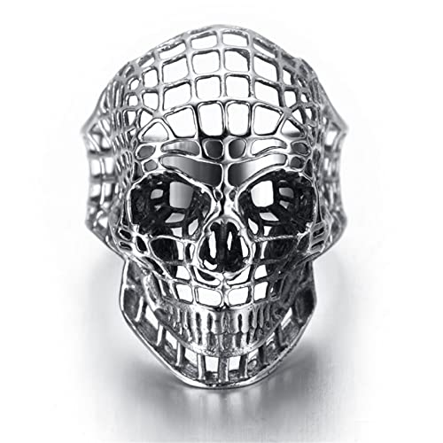 Bishilin Anillos Acero Inoxidable Cráneo Anillos Calavera Anillos de Hombre Gothic Anillos Plata Anillos 20x35MM