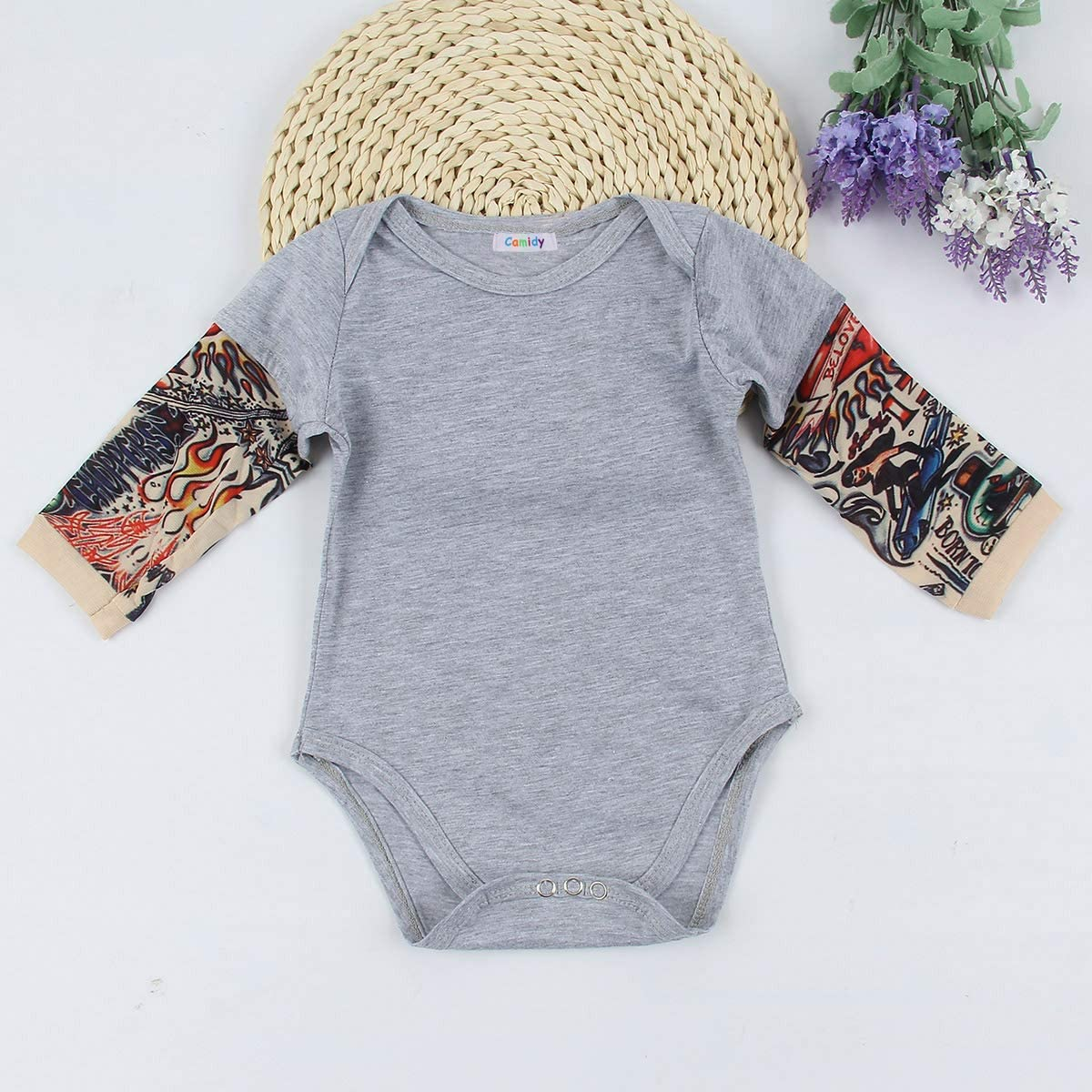 Camidy Infant Toddler Baby Boy Girl Tattoo Printed Sleeve Romper Bodysuit Jumpsuit