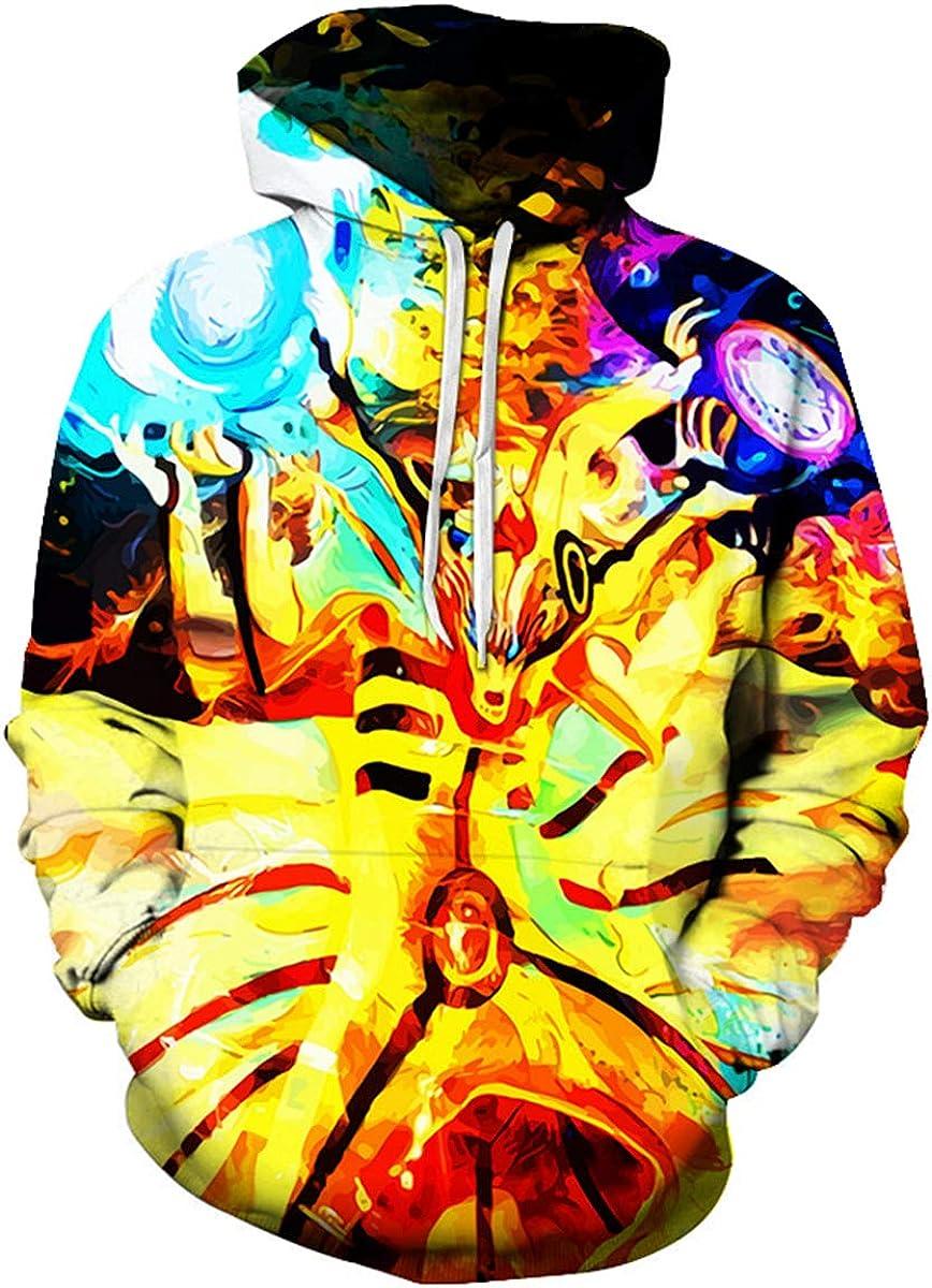 CHENMA Men Boruto Naruto 3D Print Pullover Hoodie Sweatshirt with Front Pocket