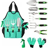 Aladom Garden Tools Set 10 Pieces, Gardening Kit with Heavy Duty Aluminum Hand Tool and Digging Claw Gardening Gloves for Men