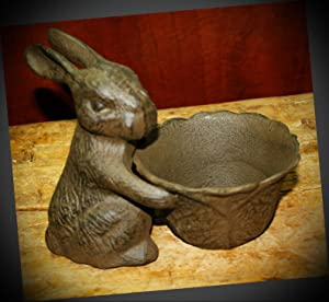 NewSSign Lot of Vintage Rustic Cast Iron Easter Bunny Bowl Garden Statue Bird Feeder Rabbit Planter Birdbath Decor #RLX-0720PMi Warranity by PrMch