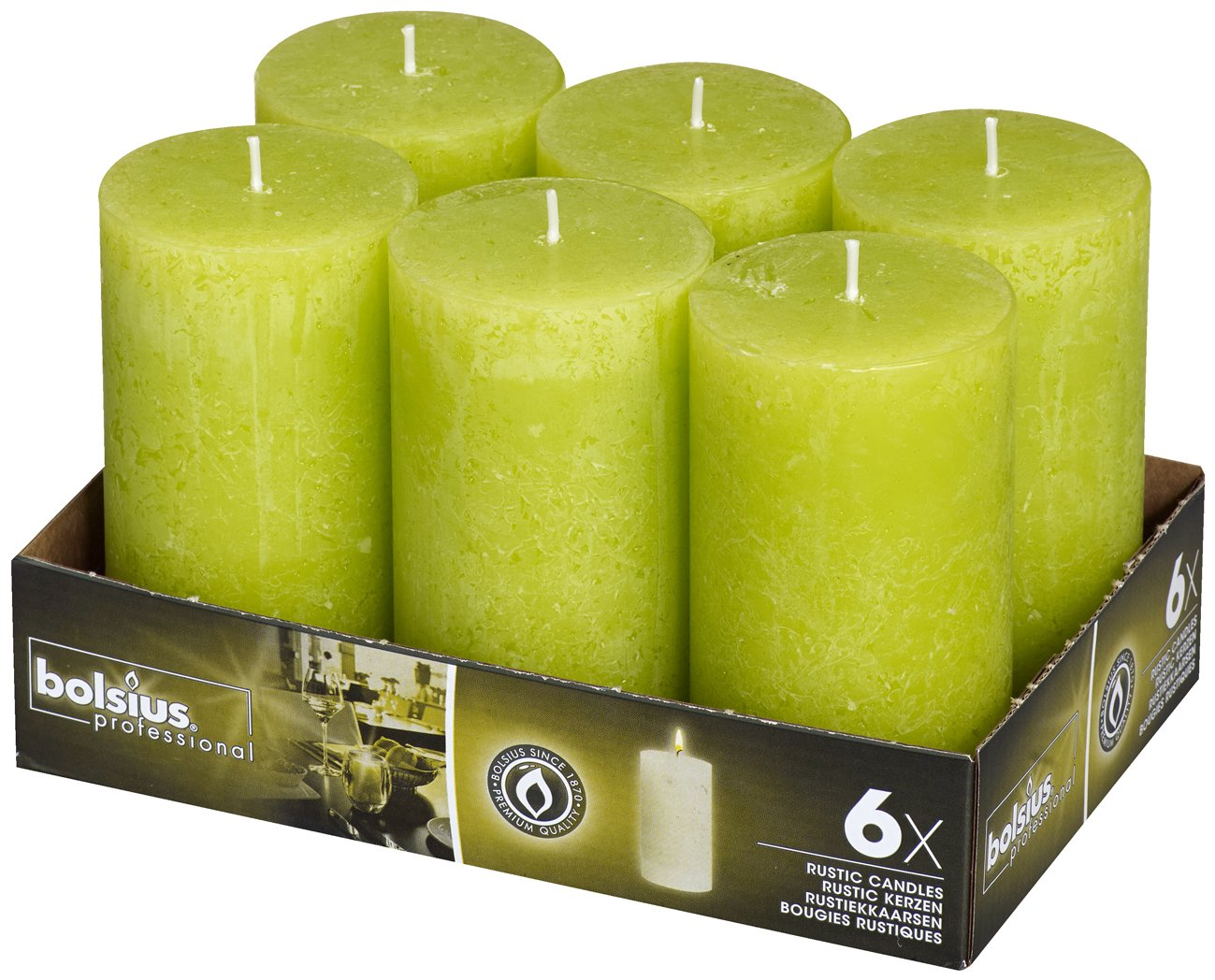 BOLSIUS 6 Pk. Rustic Lime Green Pillar Wedding Party Candles 130 X 68mm (Aprox. 5 X 2.75 Inches)