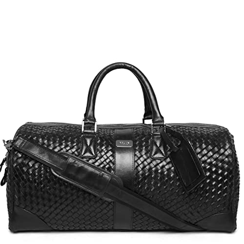 f9457fbc45 Brune Men s Woven Leather Duffle Bag Black VNMO-343-01  Amazon.in  Shoes    Handbags