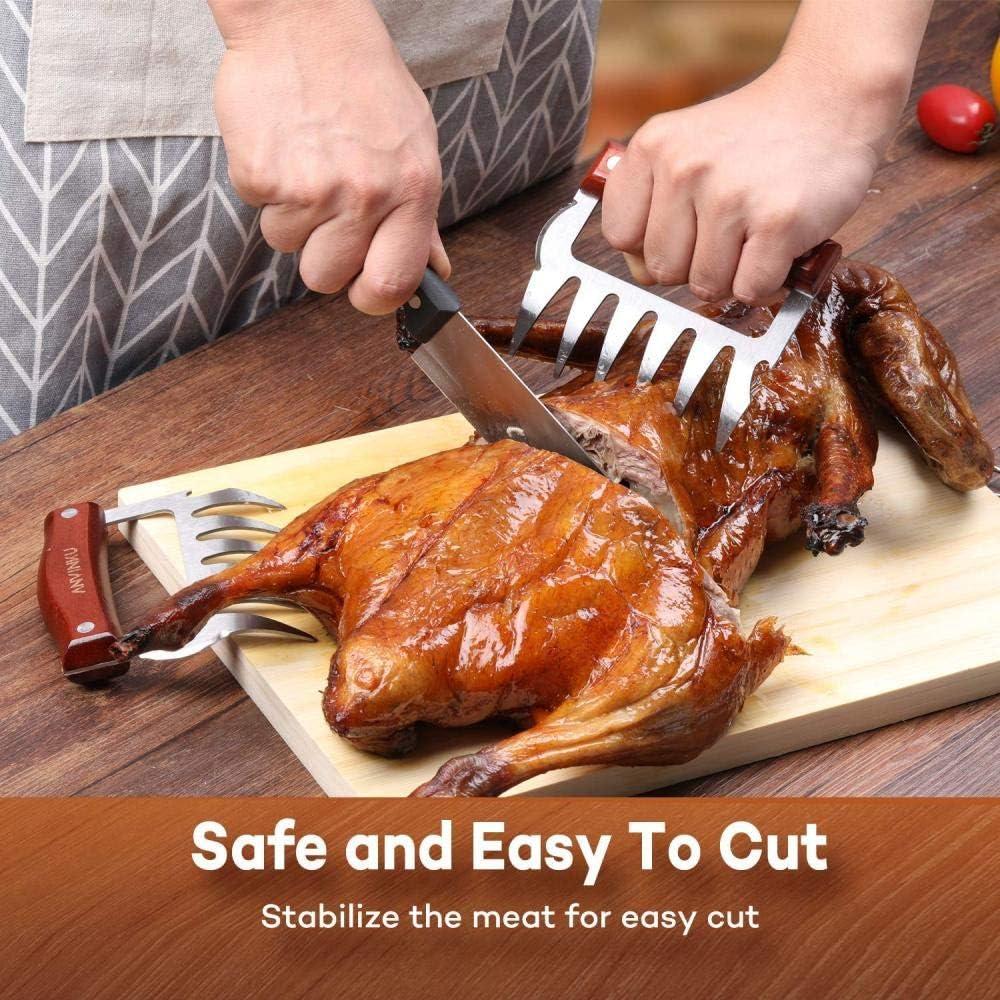 HUOQILIN Meat Claws Lot De 2 Fourchettes pour Porc Poudre, BBQ Claws, Griffes De Viande, Griffes De Viande en Acier Inoxydable,B B