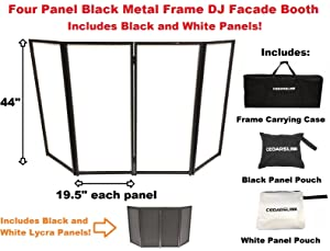 CedarsLink DJ Event Facade White/Black Scrim Metal Frame Booth + Travel Bag Case 14LB
