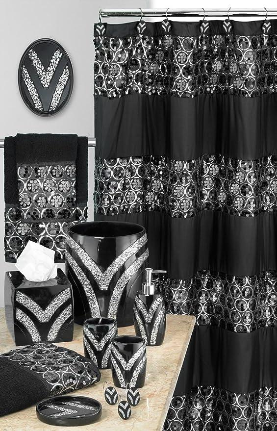 Amazon Com Designer Home 13 Piece Full Bath Accessories Includes Curtain Towel Sets Rug Set Black Kitchen Dining