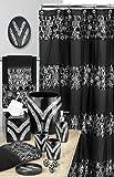 Popular Bath 838770 Sinatra Shower Curtain,Black,Shower-Curtains