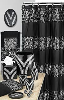 Popular Bath 838770 Sinatra Shower Curtain,Black,Shower Curtains