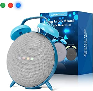 LANMU Alarm Clock Stand for Google Home Mini and Nest Mini (2nd Gen),Retro Alarm Clock Case Mount Accessories (Blue)
