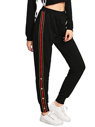 317cf812c89 SweatyRocks Women s Button And Striped Side Jogger Sweatpants With Pockets  Black XS