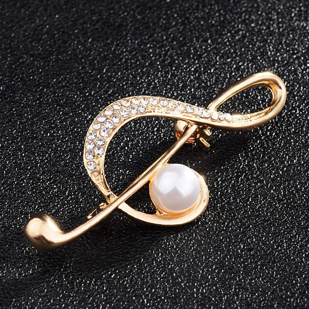 2.3cm Wmaple Musique Symbole Broche Alliage Broche Accessoires en Tissu Petite Broche Broche Bijoux Cadeau danniversaire Or 5.5