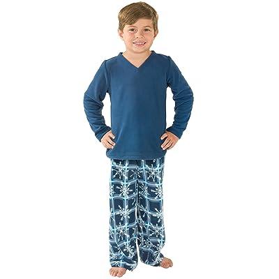 PajamaGram Snowflake Fleece Pajamas, Blue, Big Boys'