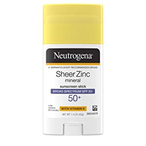 Neutrogena Sheer zinc oxide mineral sunscreen stick with vitamin e, broad spectrum spf 50+ & uva/uvb protection, water resistant & residue-free application, 1.5 Ounce