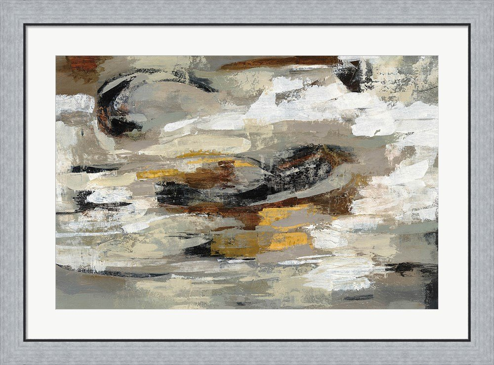 Neutral Abstract Gray by Silvia Vassileva Framed Art Print Wall Picture, Flat Silver Frame, 38 x 28 inches