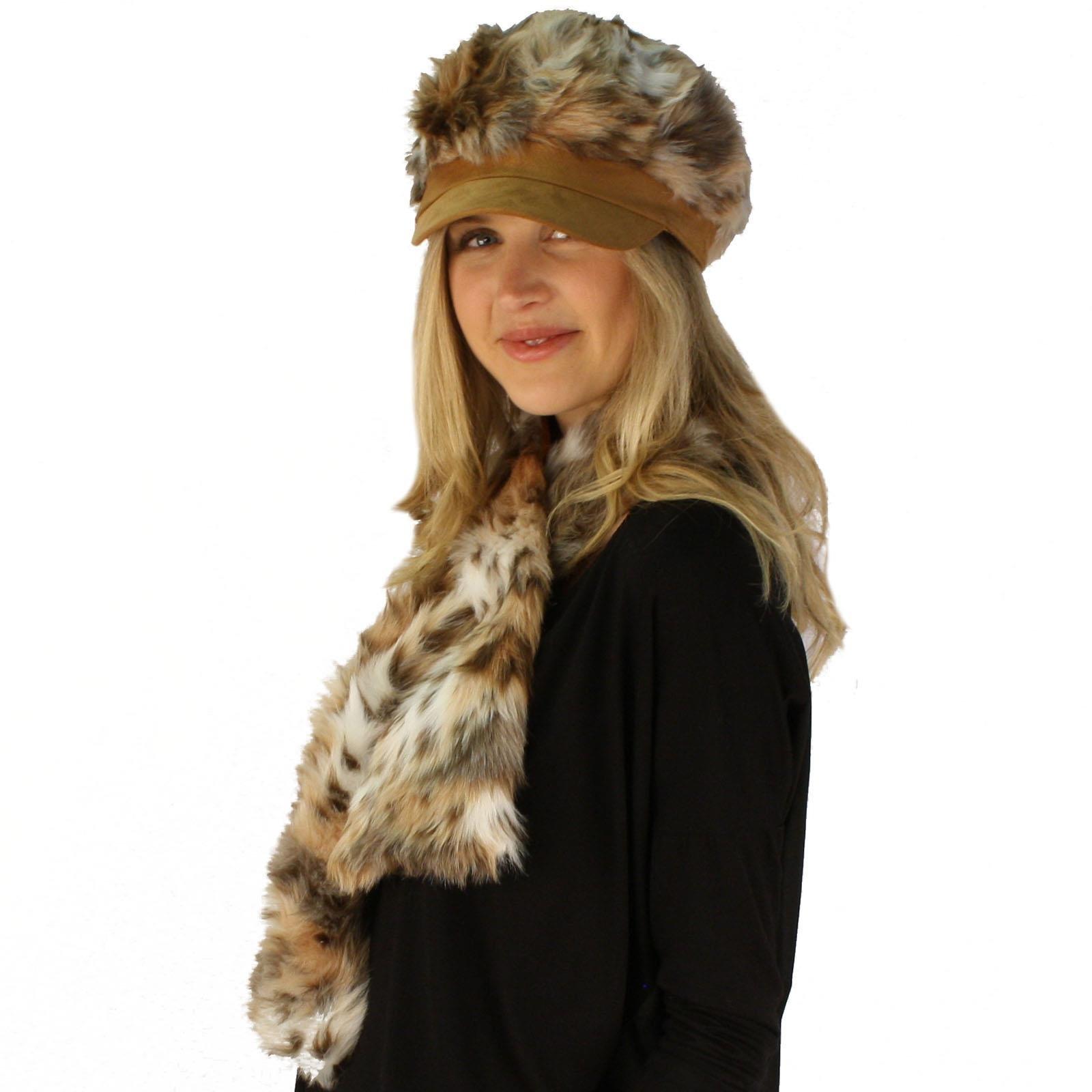 c862c114bc14 Amazon.com: Ladies Winter Soft Animal Print Faux fur Newsboy Ski Cap Hat  Scarf Set Natural (0026265171767): Books