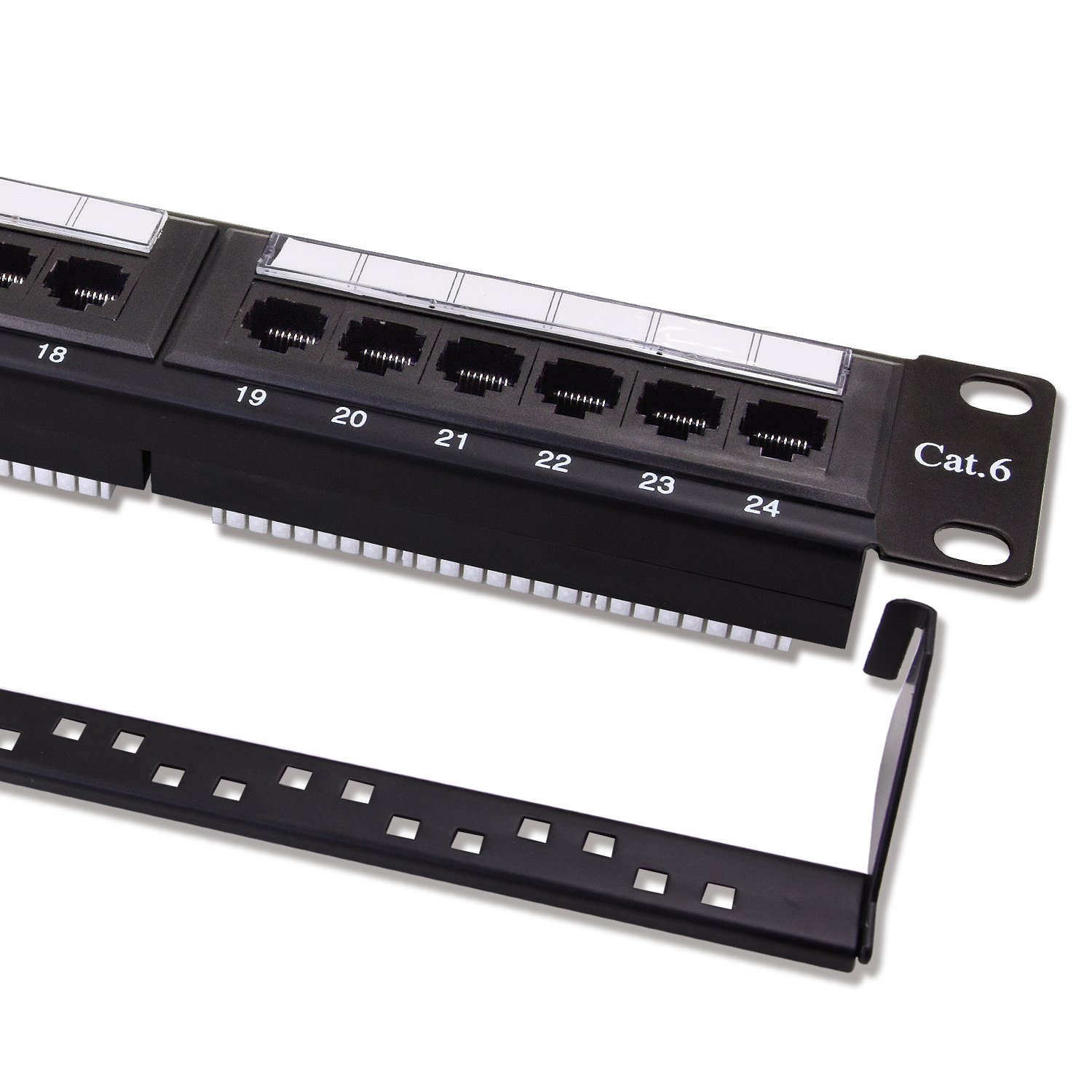 Patch Panel Cat6 24 Port Rj45 Keystone Network For Of Rack System On Wiring House Ethernet Unshielded Wallmount Or Rackmount 1u With Rear Cable Management Bracket Computers