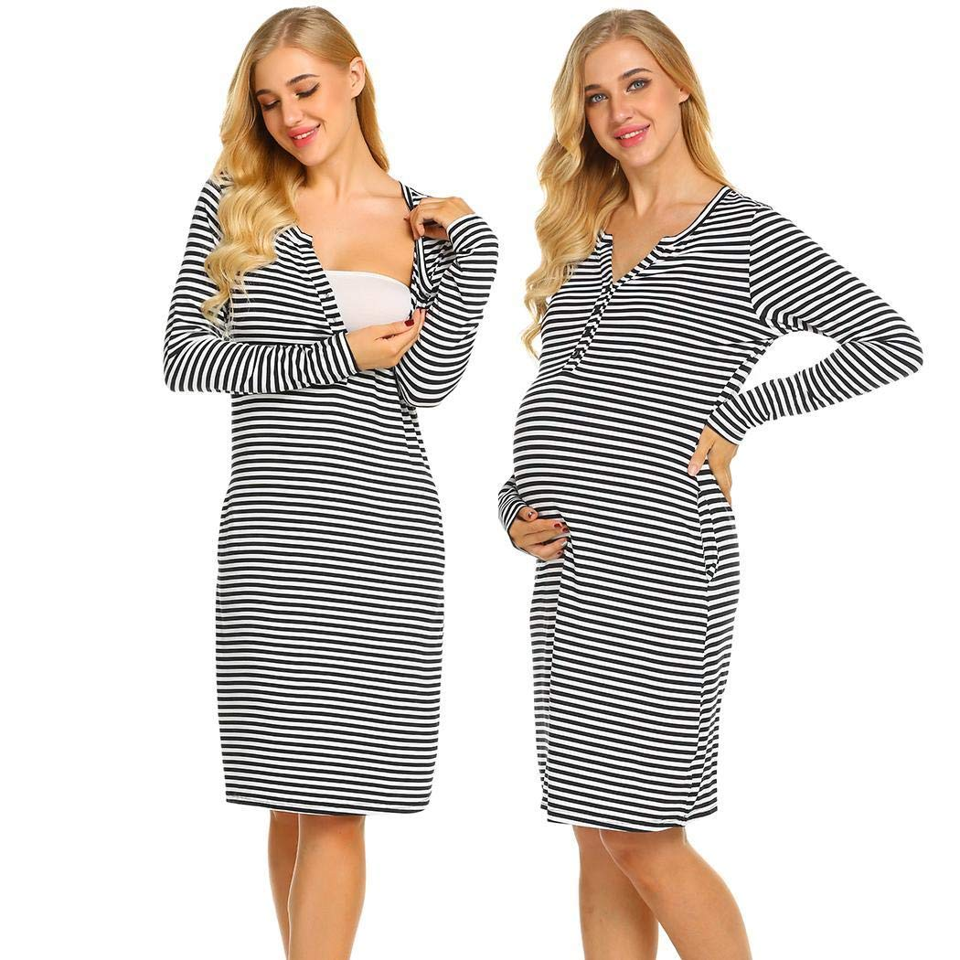 Ekouaer Nursing Nightgown Nightdress Winter Hospital Gown Delivery/Labor/Maternity/Pregnancy Soft Breastfeeding Dress (Black XXL)