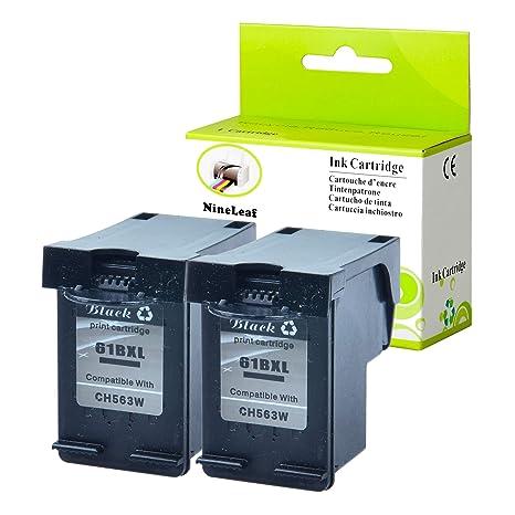 NineLeaf Remanufactured Ink Cartridge Replacement for HP 61XL 61 XL 61 Envy  4500 5530 Officejet 4630 2620 Printer (Black,2 Pack)
